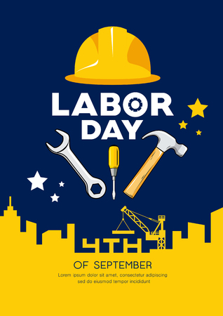 Labor day Engineer cap with wrench, hammer Imagens - 123371115