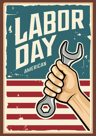Happy Labor day america and Wrench in hand, design Imagens - 123371110