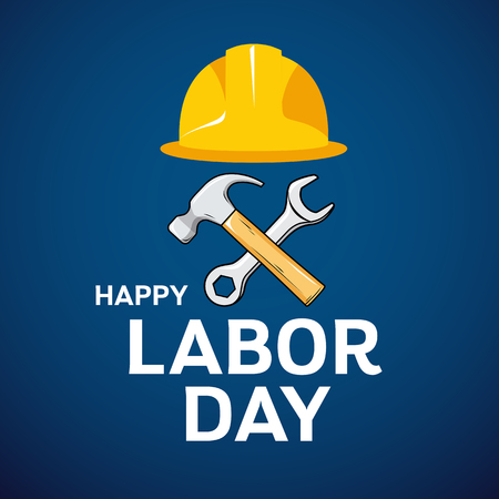 Happy Labor Day Architect cap, hammer, wrench design on blue Imagens - 124173007