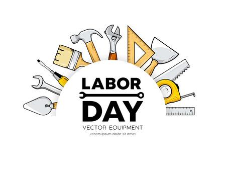 Labor day Construction equipment vector circle design