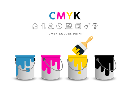 Paint cans and paint brushes  concept design