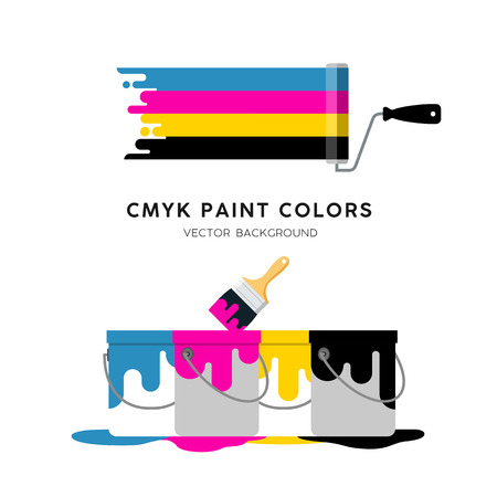 Vector Paint Roller and Paint can colorful design