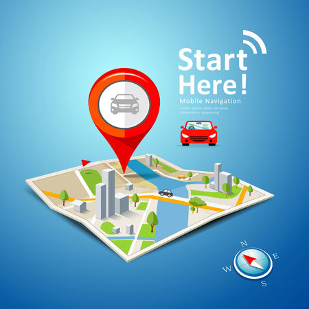 Folded maps car navigation vector with red color point markers design Çizim
