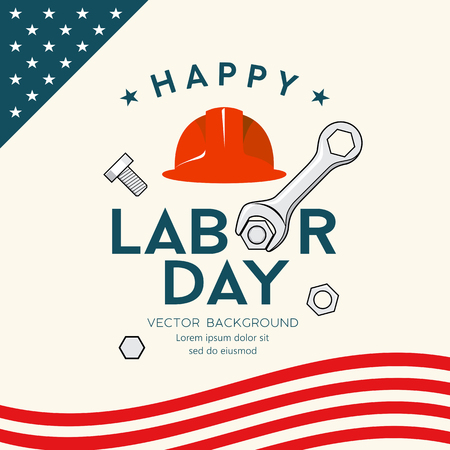Happy Labor day america engineer cap and wrench Imagens - 125457571