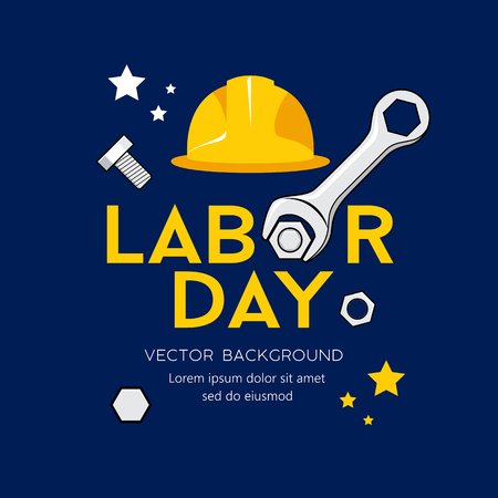 Happy Labor day message Vector, Wrench Design on navy blue Imagens - 125457575