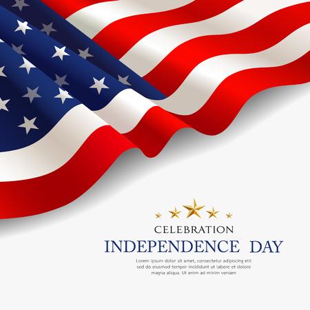 Celebración bandera de américa diseño de tela del día de la independencia