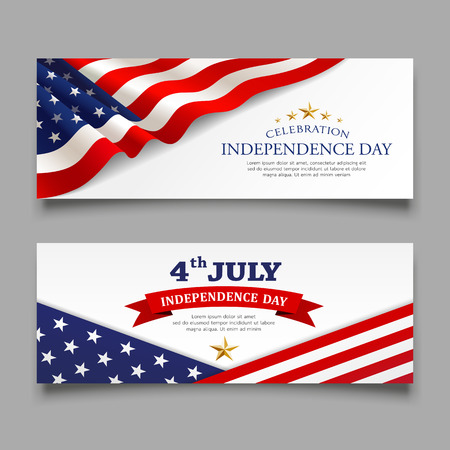 Celebration flag of america independence day banners collections, illustration Imagens - 125457573