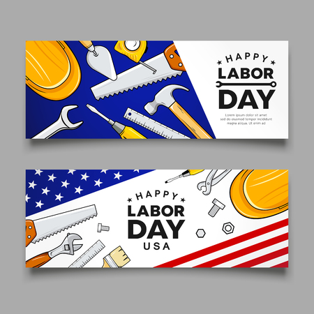 Happy labor day Construction tools flag of usa vector banners collections design