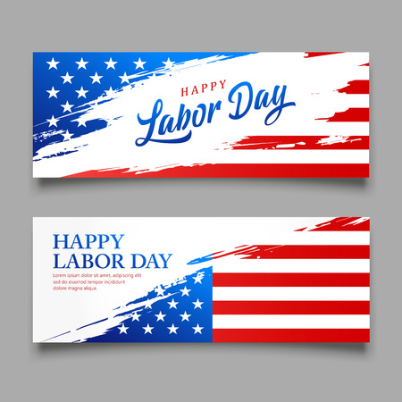 Happy Labor day flag of america vector, brush style banners design collections Imagens - 125457577