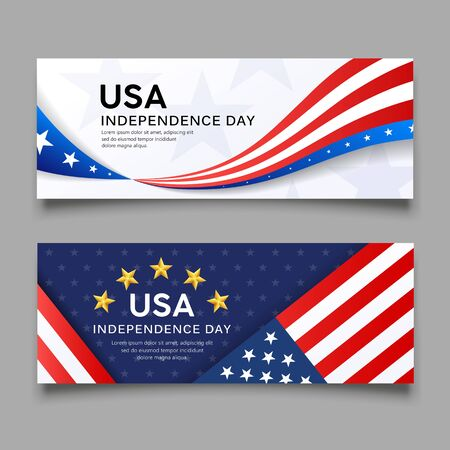 Happy independence day vector, america flag banners collection design