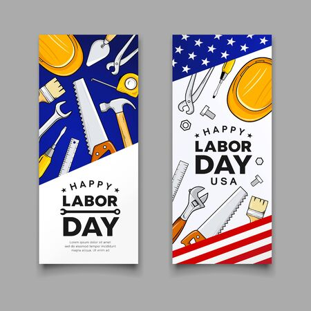 Happy labor day Construction tools american flag vector vertical banners collections design