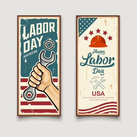 Happy Labor day america flag vector, Wrench in hand, vintage banners vertical design collections