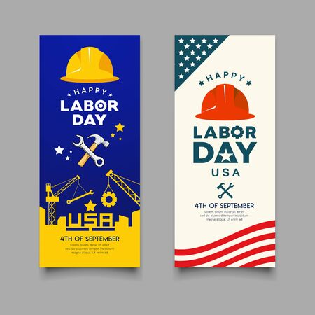 Happy Labor day Engineer cap with wrench, hammer  and building construction Imagens - 125457580