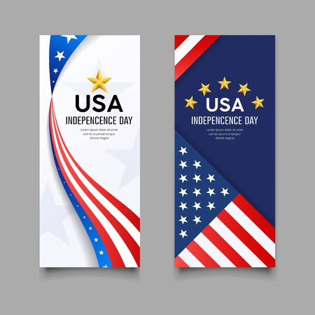 Happy independence day vector, america flag vertical banners collection Imagens - 125457581