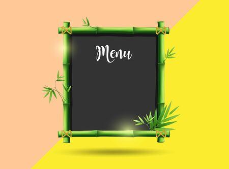Vector green bamboo frame menu design on colorful