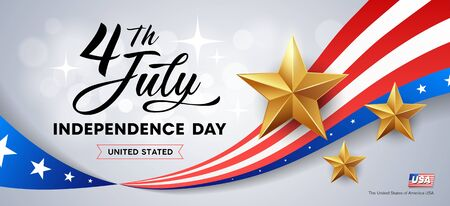 Happy independence day flag of america, and golds stars banners design Imagens - 125457582