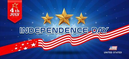 Independence day flag of united states and gold stars banners design Ilustração