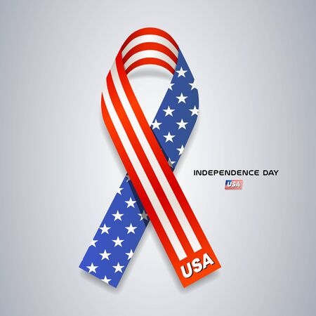Ribbons America flag independence day vector design on gray Imagens - 125457588