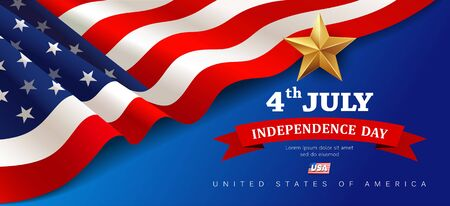 Vector Banner flag of united states happy independence day