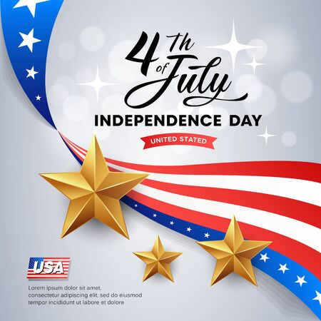 Vector Independence day flag of america, and golds stars design