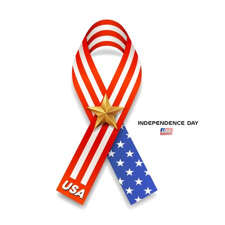 Ribbons flag of america and gold star independence day Imagens - 126476848