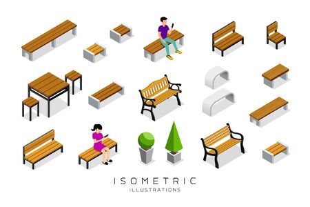 Vector isometric wooden bench collection with man and woman background, illustration Imagens - 128101823