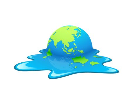 Melting Earth Vector. Concept global warming, green and blue world, illustration. Imagens - 128101852
