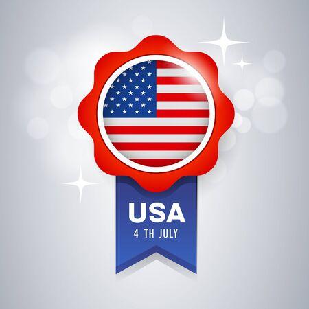 Ribbon award vector flag of United States, design background, illustration Imagens - 128101882
