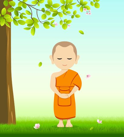 Monk Buddhism stand up vector, on grass with under tree and flower background, illustration Illustration