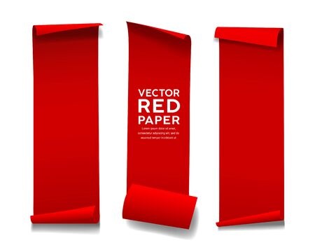 Red paper roll long size vertical vector, collection isolated on white background, illustration