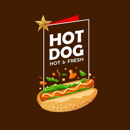 Hot dog vector, poster promote design on brown background, illustration