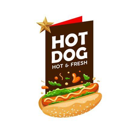 Hot dog vector, poster promote design background, illustration