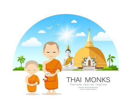 Monks and novices in Thailand vector, have temple and cloud blue sky