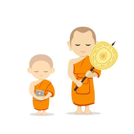 Thai monks talipot fan in hand and thai novice book in hand vector