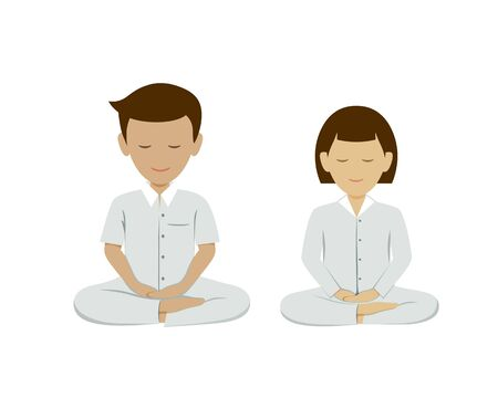 Thai man and woman meditation vector, collections background. illustration Imagens - 128483652