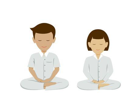 Thai man and woman meditation vector, collections background. illustration Ilustração