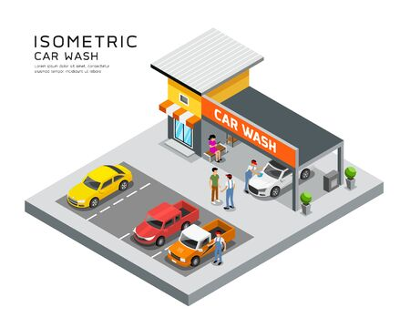 Vector Isometric building car care wash service design background, illustration