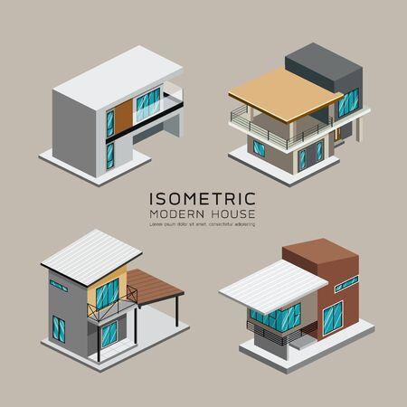 Vettore Le collezioni isometriche della casa moderna progettano il fondo, illustrazione