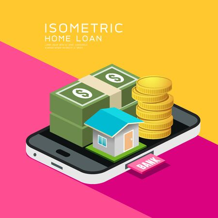 Isometric home and money vector on mobile phone, design background, illustration