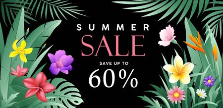 Banners Summer sale tropical  with green leaf and flower