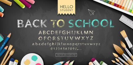 Vector banner back to school alphabet sketch design on black