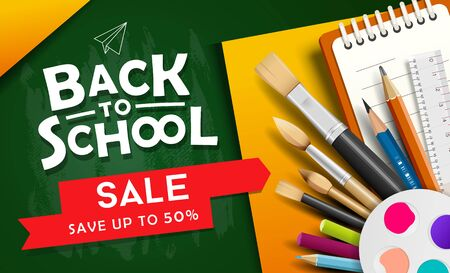 Back to school vector, school supplies for sale design on green and yellow Ilustracja