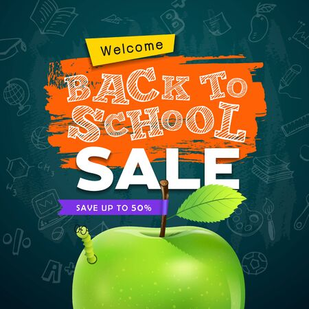 Back to school  apple and worm sale concept design on grunge Ilustracja