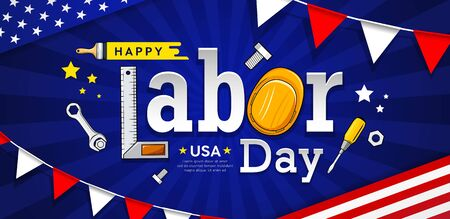 Happy labor day usa vector craftsman tool banner design on blue