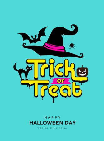 Vector happy halloween day trick or treat message design on blue