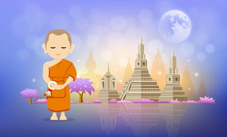 Thai monk vector and pagoda temple design beautiful Çizim