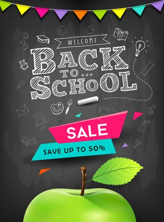 Back to school vector apple sale concept design on blackboard