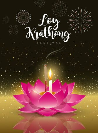 Vector Happy Loy Krathong festival travel in Thailand on golden