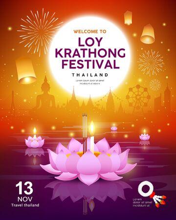 Vector Loy Krathong festival building and landmark Thailand banners on orange