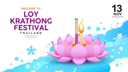 Loy Krathong festival in Thailand banners on water splash